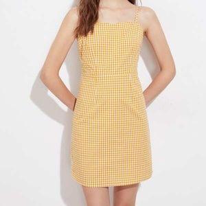 Shein Yellow Gingham Cami Dress